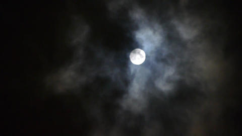 time lapse,Full moon at cloudy sky,night flight over clouds Stock Video Footage