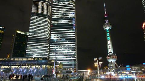 urban traffic at night,shanghai skyscraper & orient... Stock Video Footage