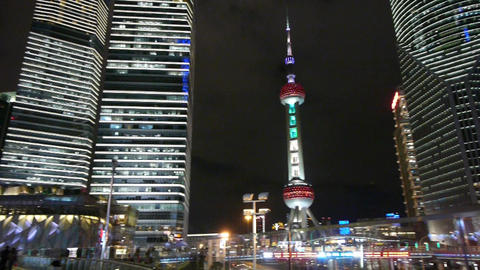 urban traffic at night,shanghai skyscraper & orient pearl TV tower Animation