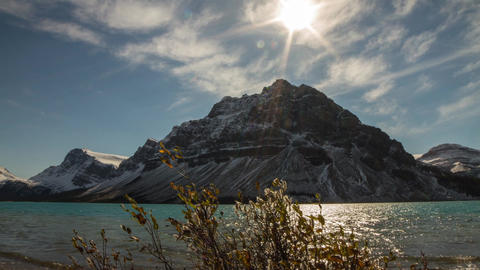 Motion dolly shot of Bow Lake Footage