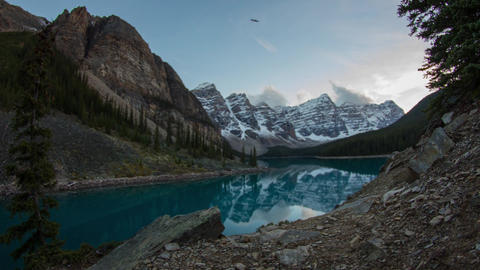 Twilight at Moranie lake, Banff National Park Stock Video Footage