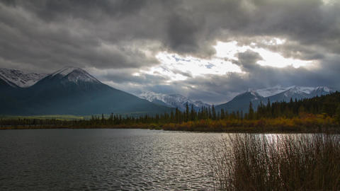 Vermillion lake light rays Stock Video Footage