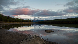 Sunset time at Maligne Lake Stock Video Footage