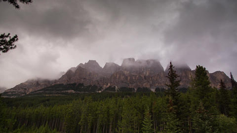 Castle Mountains on a cloudy day Stock Video Footage