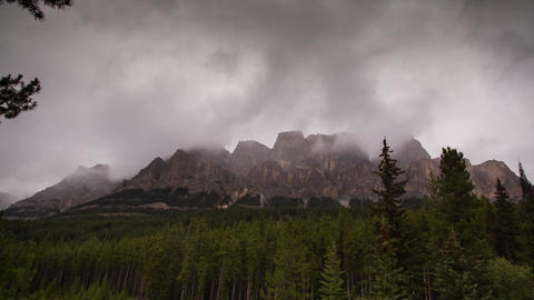 Castle Mountains On A Cloudy Day stock footage
