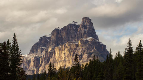 Castle Mountain with cloudy sky Stock Video Footage