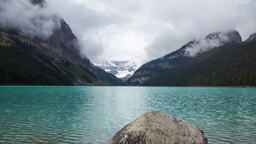 Foggy morning at Lake Louise Stock Video Footage