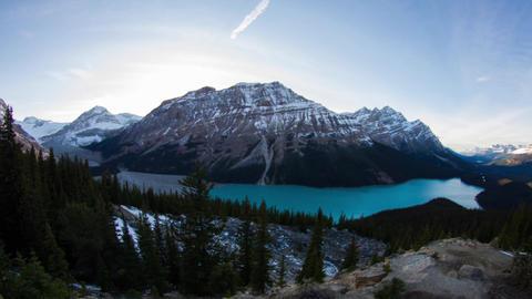 Peyto Lake day to night time lapse Stock Video Footage