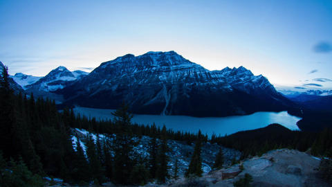 Peyto Lake day to night time lapse Stock Video Footage
