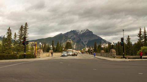 Street Traffic in Banff, Alberta, Canada Stock Video Footage