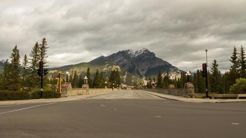 Street Traffic in Banff, Alberta, Canada Stock Video Footage