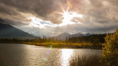 Cloudy day at Vermillion lake with light rays Stock Video Footage