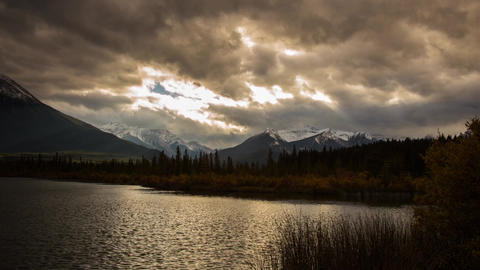 Cloudy Day At Vermillion Lake With Light Rays stock footage