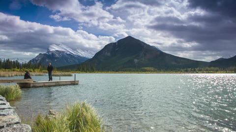Cloudy day at Vermillion Lakes by the dock Footage