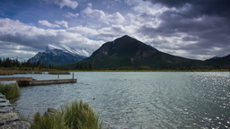 Cloudy day at Vermillion Lakes by the dock Stock Video Footage