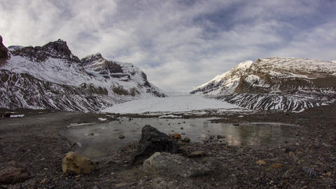 Morning clouds at Athabasca Glacier Stock Video Footage