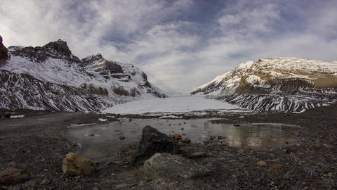 Morning clouds at Athabasca Glacier Footage