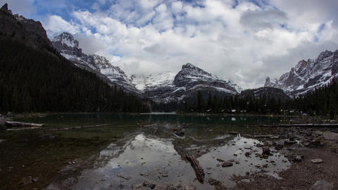 Cloudy day at Lake O'Hara Stock Video Footage