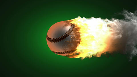 burning baseball ball. Alpha matted Stock Video Footage
