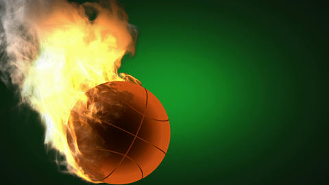 burning basketball ball. Alpha matted Animation