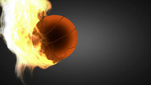 burning basketball ball. Alpha matted Stock Video Footage