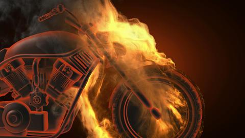 chopper bike in fire. Alpha matted Stock Video Footage