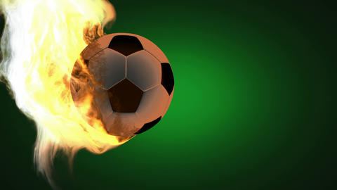 burning soccer ball. Alpha matted Animation