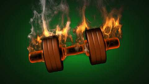 burning dumbbell. alpha matted Stock Video Footage