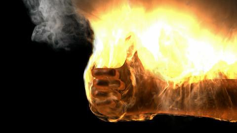 burning skeleton Peace sign. Alpha matted Animation