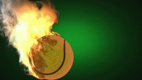 burning tennis ball. Alpha matted Stock Video Footage