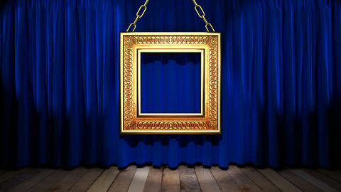 Loop light on blue fabric curtain Animation