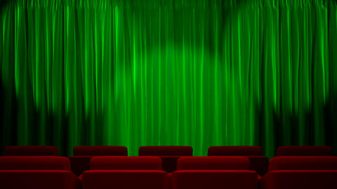 Loop light on green fabric curtain Stock Video Footage