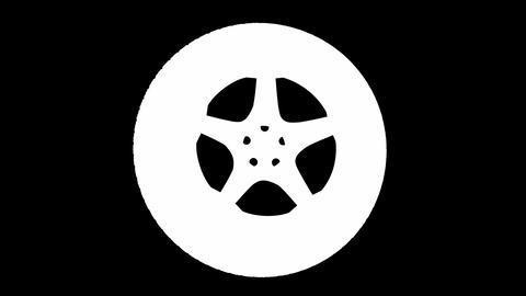 Loop rotating wheel. Alpha matted Stock Video Footage
