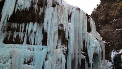 Waterfall is in winter Stock Video Footage