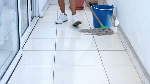 Mopping the floor Stock Video Footage