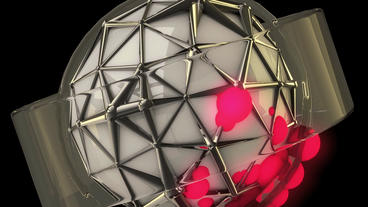 sci-fi ribbon surround metal tech digital ball & f Stock Video Footage