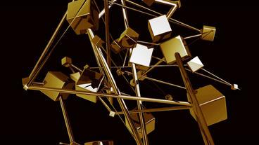 Gold brick bullion.Abstract Futuristic high techno Stock Video Footage