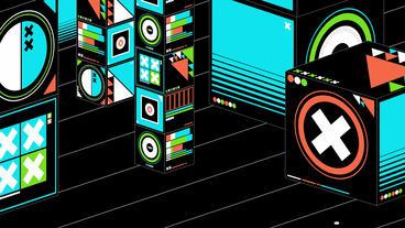 Cartoon music box symbol in Virtual stylish space, Stock Video Footage