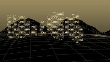 Virtual data matrix on grid Mountain hill.high-tech gps... Stock Video Footage