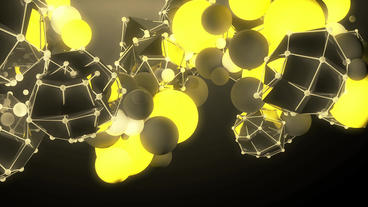 sci-fi polyhedron & balls,music background,tech digital geometry Animation