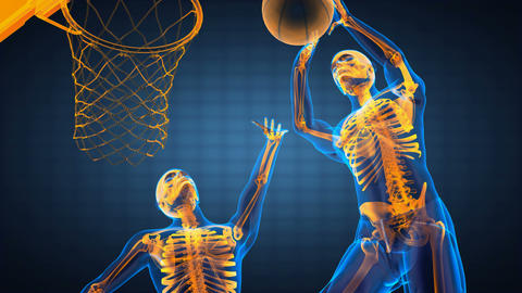 basketball game player made in 3D Stock Video Footage