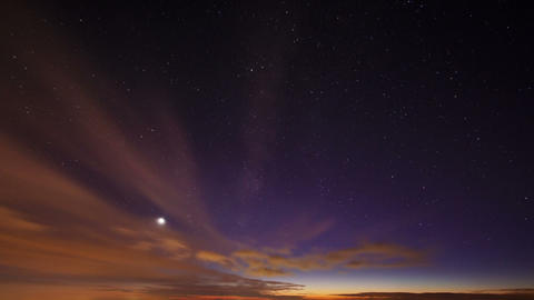 Sunset and the Milky Way. Time Lapse Footage