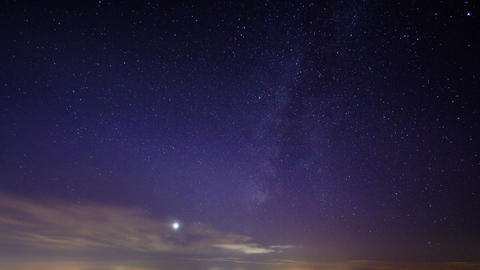 Sunset and the Milky Way. Time Lapse Stock Video Footage