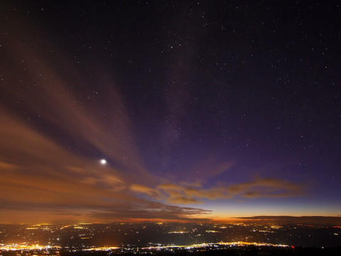 Sunset And The Milky Way Over Sicily. Time Lapse stock footage