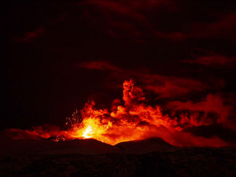 Etna Eruption at night. Sicily, Italy. Time Laps.  Footage