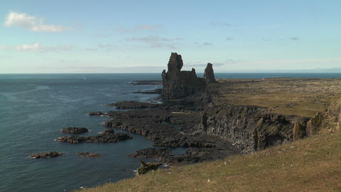 scenic coastline on reykjanes peninsula in iceland Stock Video Footage