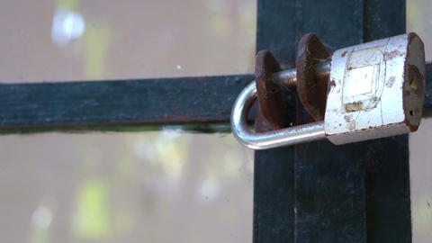 Glass windows secured with a Metallic padlock Stock Video Footage