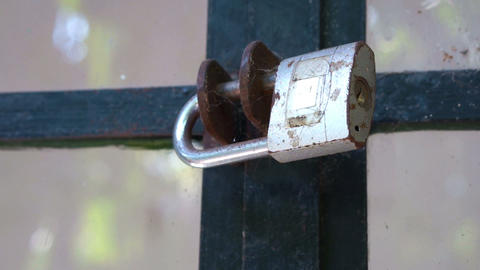 Glass windows secured with a Metallic padlock Footage