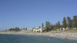 Cottesloe Beach in Perth Under Blue Skies Stock Video Footage