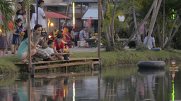 Man Selling Decorative Krathongs for the Loi Krath Stock Video Footage